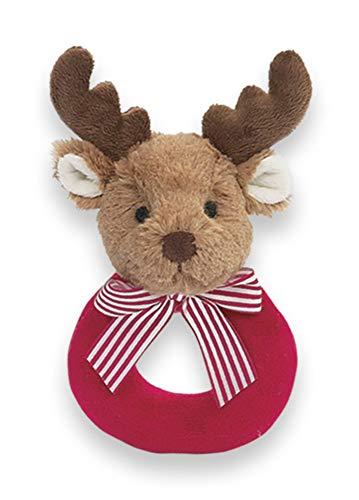 Bearington Baby Lil' Reindeer Christmas Plush Soft Rattle, 5.5