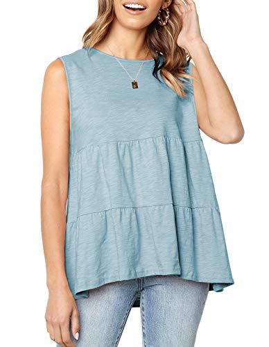 Women's Summer Short Sleeve Loose T Shirt High Low Hem Babydoll Peplum Tops (Small, Y-Tank-Pea Green)
