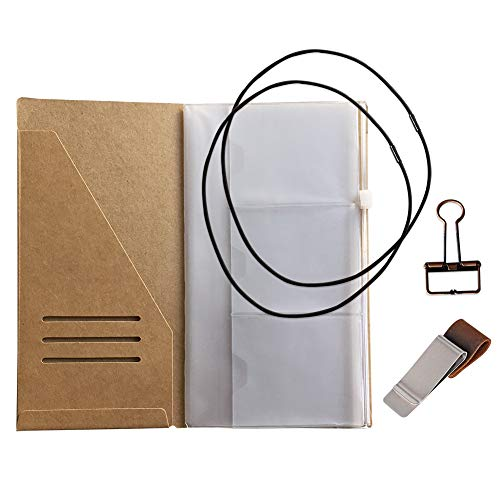 - Travelers Notebook Accessories Kit - Kraft File Folder, Zipper Case, Pen Holder, Binder Clip and 2 Elastic Bands