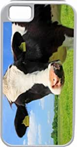 Rikki KnightTM Cow Face Close-Up Design White Tough-It Case Cover for iPhone 5 (Double Layer case with Silicone Protection) Universal: Verizon - Sprint - AT&T - Unisex