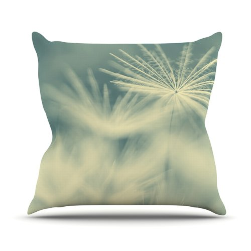 """Kess InHouse Ingrid Beddoes """"Snowflake"""" Teal White Outdoor Throw Pillow, 18 by 18-Inch"""