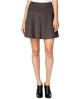 kensie Womens Knit Herringbone A-Line Skirt