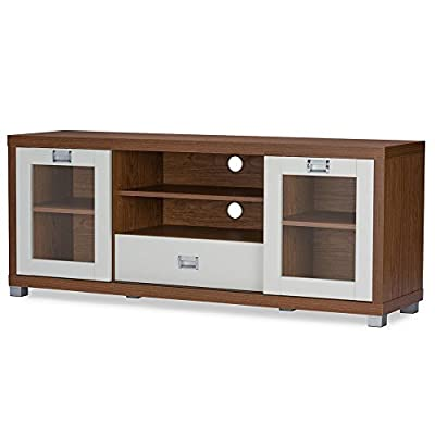 Baxton Studio Matlock 60 in. TV Stand - Dimensions: 57.5L x 15.4W x 23.9H inches Constructed of solid wood, MDF, and faux paper veneer Deep walnut and white finish - tv-stands, living-room-furniture, living-room - 41knZ2TdtOL. SS400  -