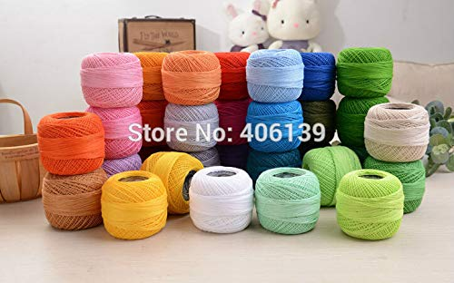 Zamtac 10 Rolls 9s/2 100% Cotton DIY Good Quality Stitch Embroidery Thread Crochet Thread Hand Cross Embroidery Thread