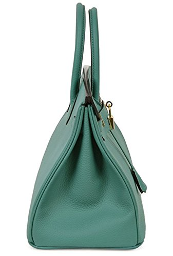 Aqua Classic Tote Women's Padlock Leather Genuine Handbags UpwSqYx