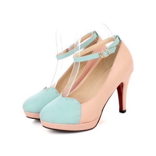 VogueZone009 Womans Closed Round Toe High Heel Spikes Stilettos PU Frosted Solid Pumps, Pink, 3 UK