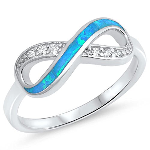 Opal Knot (Clear CZ Blue Simulated Opal Infinity Knot Ring .925 Sterling Silver Band Size 11)