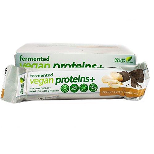 Genuine Health Fermented Vegan Proteins+ Bar, Peanut Butter Chocolate, Box of 12-1.94 oz Bars