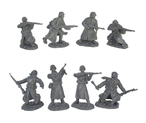 (WWII Longcoat German Infantry Plastic Army Men: 16 piece set of 54mm Figures - 1:32 scale)