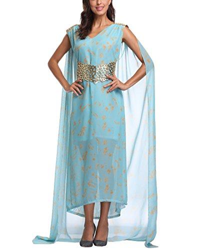 [Eller Ware Women's Chiffon Maxi Dress Halloween Cosplay Costume Blue Long Train Dress] (Daenerys Stormborn Halloween Costume)