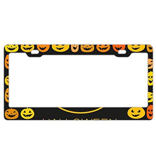 Kuytresdf Halloween Pumpkin License Plate 12inch;inch; X 6 Front License Plate 4 Holes