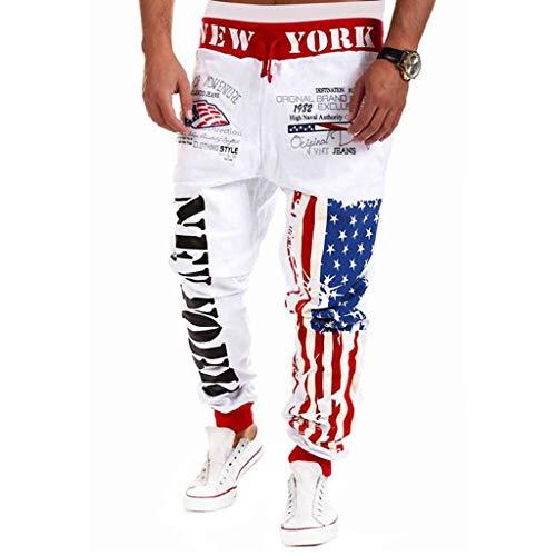 Mysky Fashion Men Popular American Flag Print Casual Drawstring Pencil Pants Comfy Cotton Joggers Sport Sweatpants White ()
