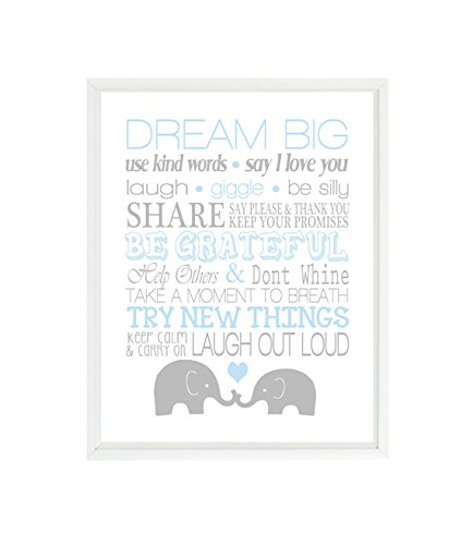 Elephant Nursery Art, Baby Boy Nursery, Rules Art, Light Blue, Gray, Dream Big, Elephant Decor, Nursery Decor, Playroom Rules, Baby Gift