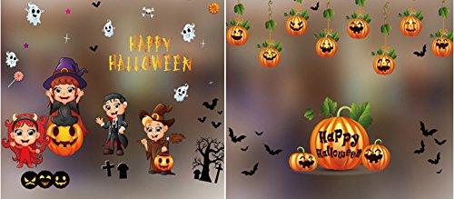 TSACTE Halloween Window Stickers Pumpkin Party Decorations 2 PCS Wall Window Décor Stickers for Nursery Kids' (Pumpkin Surface Carving Kit)