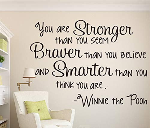 Motivational Saying Lettering Art Stronger Braver Smarter Wall Decal Winnie The Pooh Motivational Quote Wall Sticker Living Room Baby Nursery Children Room Vinyl Art