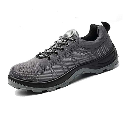 SUADEX Steel Toe Shoes Men Women, Indestructible Work Shoes Breathable Industrial Construction Non Slip Puncture Proof Composite Safety Toe Shoes Grey 001 Size 11.5-12 Women/10-10.5 Men