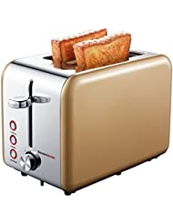 Bonsenkitchen 2-Slice Wide-Slot Toaster with Chrome Stainless Steel Housing, Defrost/Bagel/Cancel and Bread Jam Proof Function, 7 Browning Settings (Gold)