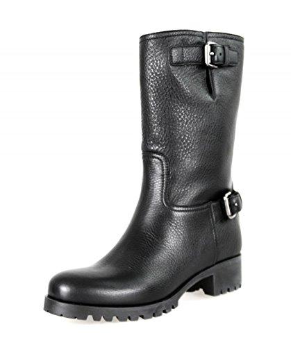 (Prada Women's 3U5785 Black Leather Half-Boot EU 39.5 / US 9.5)
