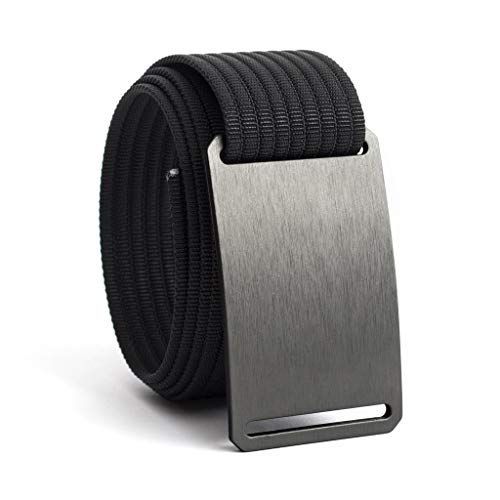 Men's Web Belt GRIP6 (36in Gunmetal w/Black Strap) (Fabric Mens Belt)