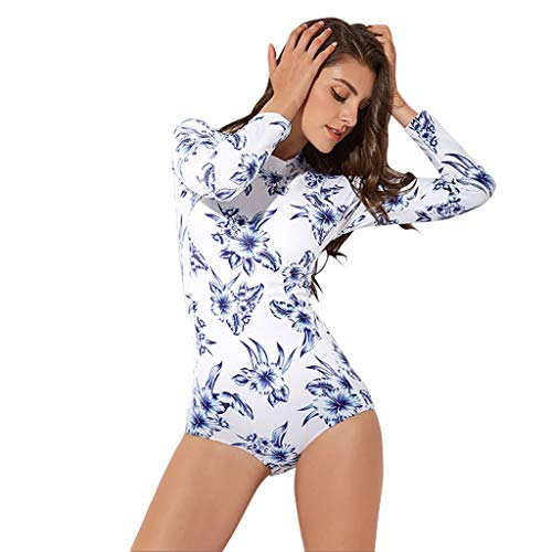 Excursion Sports One Piece Bathing Suit for Women Long Sleeve Rash Guard for Swimming/Scuba Diving/Snorkeling/Surfing
