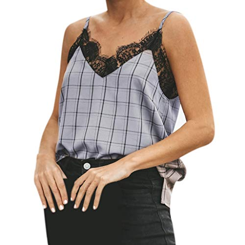 MOSERIAN Fashion Womens Ladies Summer Strappy Vest Top Sleeveless Plaid Casual Lace Tank Blue