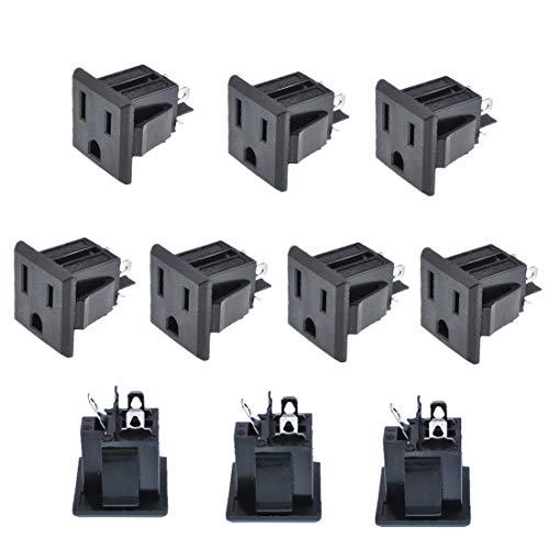 - Oiyagai 10Pcs Black US 3 Pins Power Socket Plug Panel Screw Mount Type Female Connectors Adapter