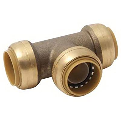 SharkBite Tee Pipe Connector Plumbing Fitting, 1/2 In, PEX Fittings, Push-to-Connect, Coupler, Copper, CPVC,
