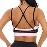 NINE BULL Women's Removable Padded Sports Bras High Impact Support Fitness Racerback Workout Yoga Bra M Pink and Black
