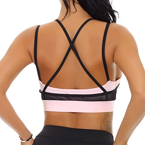 - nine bull Women's Removable Padded Sports Bras High Impact Support Fitness Racerback Workout Yoga Bra XXL Pink and Black