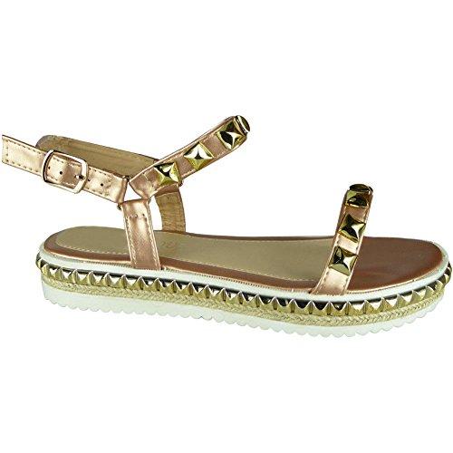 3 De Flatform Crampons Dames Femmes Champagne Chaussures Fort Peeptoe Tailles Jute Pour forme 8 Regard Sandales Toile Plate Compensées qav8wx