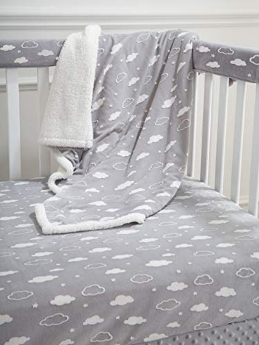 American Baby Company Heavenly Soft 5 Piece Crib Rail Bedding Set, 3D Cloud Grey, for Boys and Girls