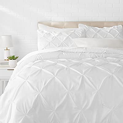AmazonBasics Pinch Pleat Comforter Set - King, Bright White - Comforter set brings an attractive appearance and cozy comfort to any bedroom 100% microfiber shell with polyester filling for softness, warmth, and breathability All-season comforter weight for comfortable year-round use - comforter-sets, bedroom-sheets-comforters, bedroom - 41knbsMmmmL. SS400  -