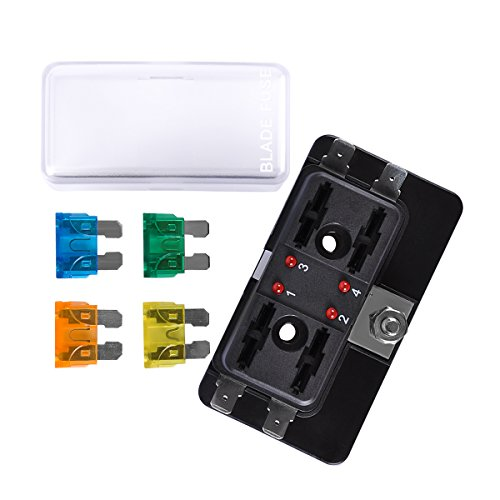 4-Way Blade Fuse Block, AutoEC Marine Fuse Box Holder for Car Boat Marine Trike with Led Safety Indicator for Blown Fuse by AutoEC (Image #1)