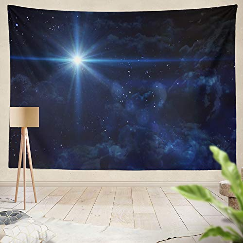 threetothree Tapestry Christmas Star Christ NASA Star Christmas Nativity Sky Birth Christ Scene Night Jesus Hanging Tapestries 60 x 80 inch Wall Hanging Decor for Bedroom Livingroom Dorm