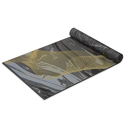 Gaiam Yoga Mat Premium Print Reversible Extra Thick Non Slip Exercise & Fitness Mat for All Types of Yoga, Pilates & Floor Workouts, Metallic Spiritual Journey, 6mm