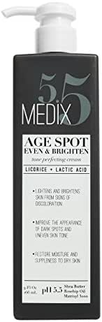 Medix 5.5 Age Spot Cream for body and face. Even & Brighten Tone Perfecting Cream with Shea Butter, Rosehip oil and Matrixyl 3000. Large 9oz bottle with pump. (9oz)
