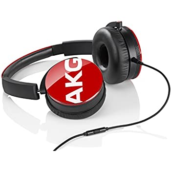 AKG Y50 Red On-Ear Headphone with In-Line One-Button Universal Remote/Microphone, Red