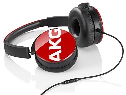 AKG Y50 Red On-Ear Headphone with In-Line One-Button Universal Remote/Microphone, Red by AKG