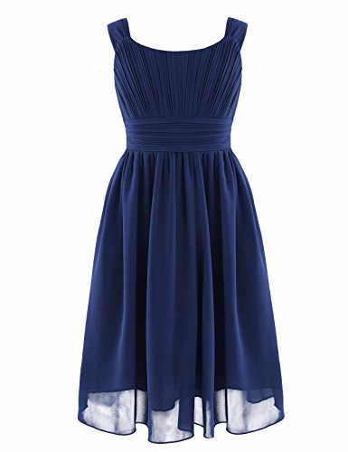 YiZYiF Kids Big Girl Sleeveless Pleated Chiffon Flower Wedding Bridesmaid Formal Party Dress Navy Blue 12 -