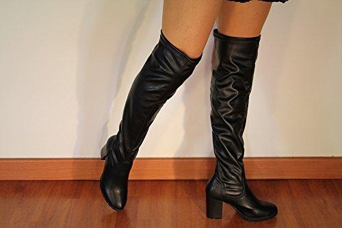 Negro botas de tacón 8,5 cm.