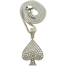 "Hip Hop Iced Out Ace of Spades Playing Card Pendant 24"" Various Chain Necklace in Gold, Silver Tone"