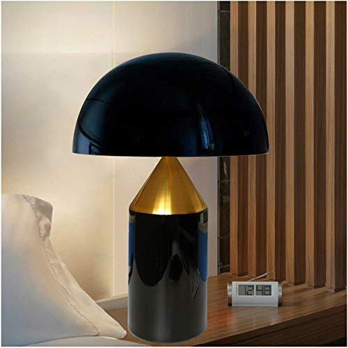 FMEZY E14x3 Table LampModern Contemporary Simple Metal Glass Mushroom Desk LampBedside Light,Black and Gold (Size : 35 25cm)