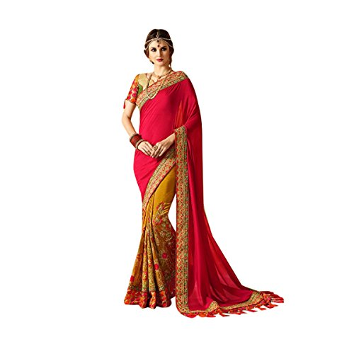 Pink Color Bollywood Saree Sari With Latest Stylish Pattern On Blouse Just Launched Women Wedding Ceremony Party Wear Diwali Festive By Ethnic Emporium 526 by ETHNIC EMPORIUM