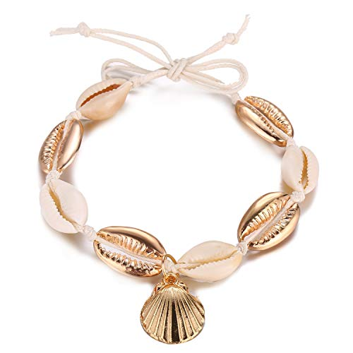 Hawaiian Gold Bracelets - FineMe Natural Metal Cowrie Shell Charm Anklets Handmade Rope Anklet Bracelet Hawaiian Style for Women Teen Girls (H1: Metal Shell)