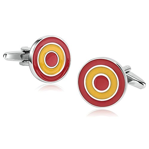 Stainless Steel Mens Cufflinks Concentric Circles Red Yellow Cufflinks 1.8X1.8CM Xmas Gift Box Aooaz (Design Circle Cufflinks Pearl)