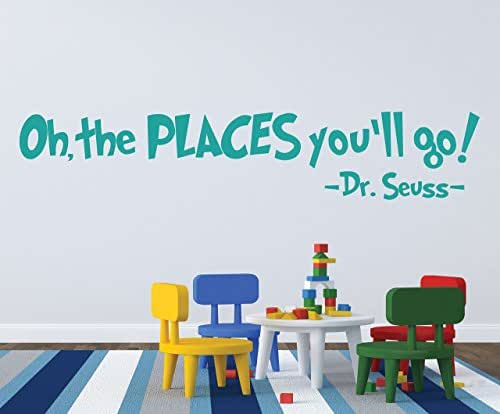 Places you ll go wall decal dr seuss decal quote decal handmade