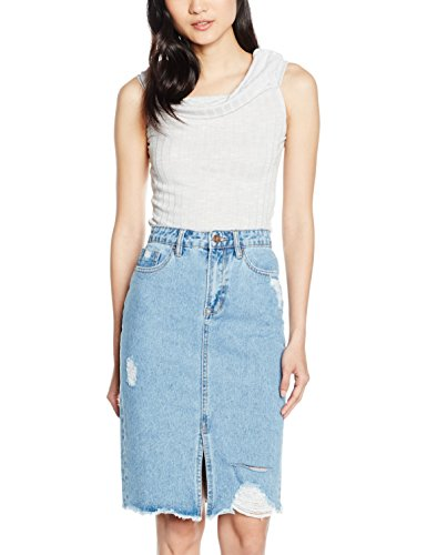 New Look Rib Bardot, Camiseta sin Mangas para Mujer Grey (Mid Grey)