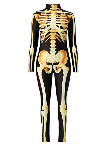 Uideazone Female Ladies Skull Scary Costumes Jumpsuit Outfit for Halloween Night Party -