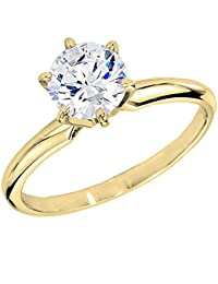 IGI Certified 1.70 Carat (ctw) 14K Gold Round Diamond Solitaire Ring 1 3/4 CT