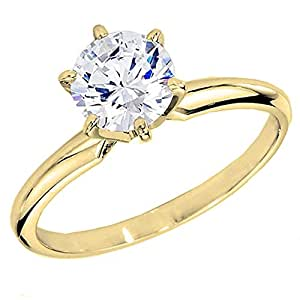 Dazzlingrock Collection IGI Certified 1.70 Carat (ctw) 14K Yellow Gold Round Diamond Solitaire Ring 1 3/4 CT (Size 5)